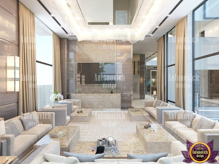 Modern contemporary interior design of Katrina Antonovich:  Living room by Luxury Antonovich Design