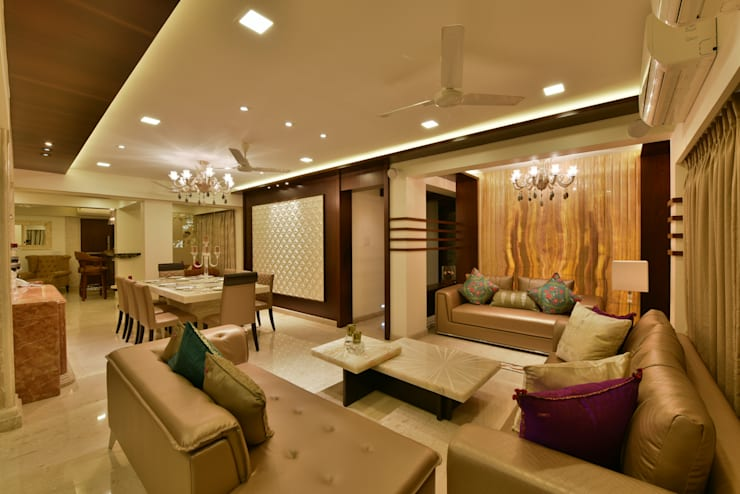 Mr. Doshi's Residence:  Living room by Banaji & Associates