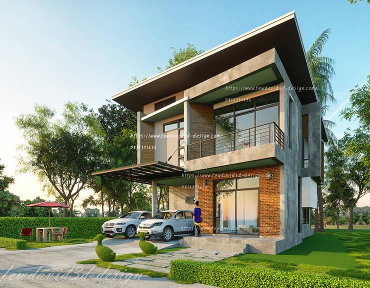 บ้านโมเดิร์นลอฟต์ 4ห้องนอน3ห้องน้ำ:  บ้านและที่อยู่อาศัย by fewdavid3d-design