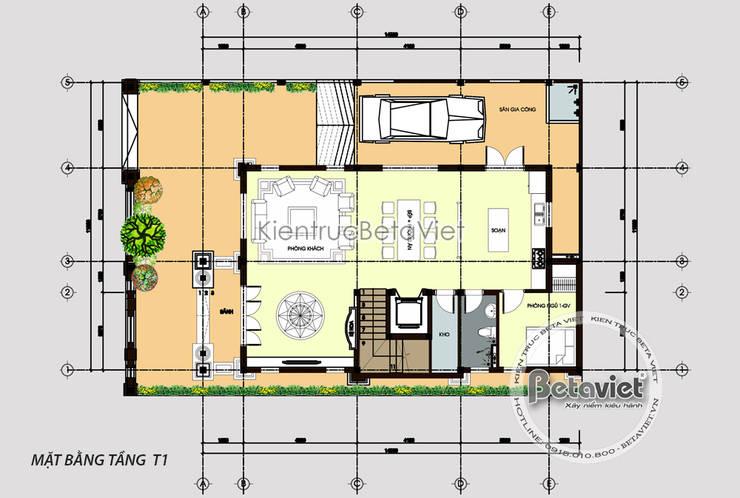 Mặt bằng tầng 1 mẫu biệt thự 3 tầng tân cổ điển (CĐT: Ông Mạnh - Bắc Ninh) KT17089:   by Công Ty CP Kiến Trúc và Xây Dựng Betaviet