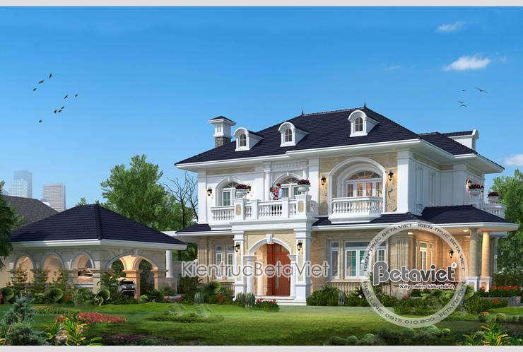 Phối cảnh mẫu thiết kế biệt thự đẹp 2 tầng theo phong cách Tân cổ điển châu Âu:   by Công Ty CP Kiến Trúc và Xây Dựng Betaviet