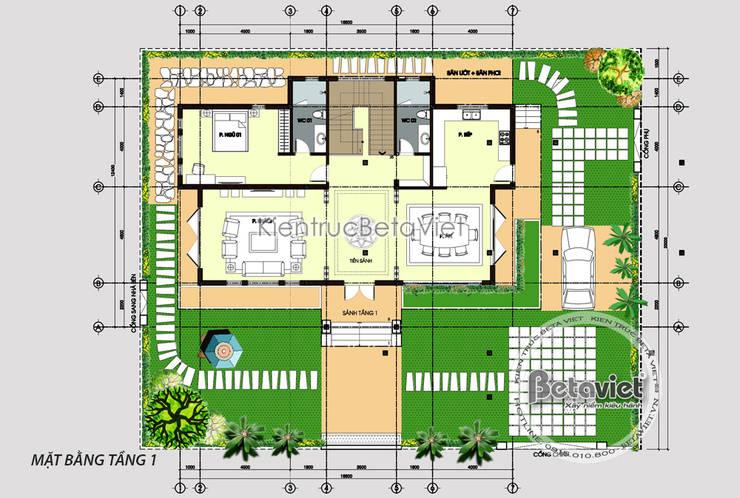 Mặt tiền mẫu thiết kế biệt thự nhà đẹp 2 tầng Hiện đại ( CĐT: Ông Luận - Mỹ Đức) KT18019:   by Công Ty CP Kiến Trúc và Xây Dựng Betaviet
