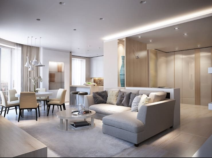 2BHK CLASSIC: modern Living room by Rebel Designs
