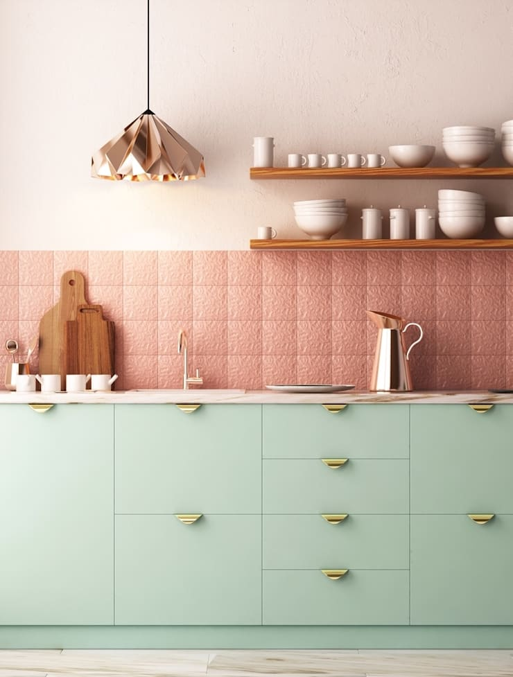 Mint and Copper Finish Kitchen:  Kitchen units by Rebel Designs