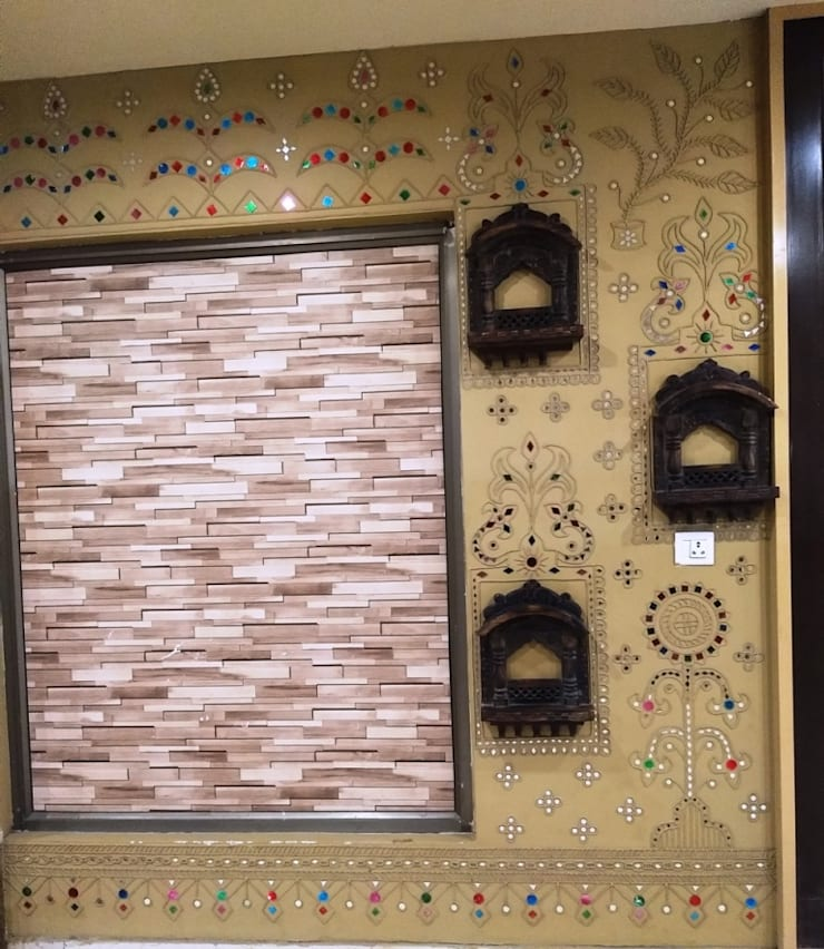 Mud Wall Paintings are one of the true Indian Traditional Painting wall Art work done by Inside Out Interior Ahmadabad Gujarat :  Walls by Inside Out Interior ,Rustic