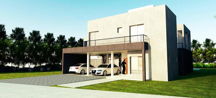 Vista Frente: Casas de estilo  por I.S. ARQUITECTURA