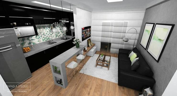 Cozinha Integrada: Cozinhas embutidas  por Rafaela Stedile Arquitetura + Interiores