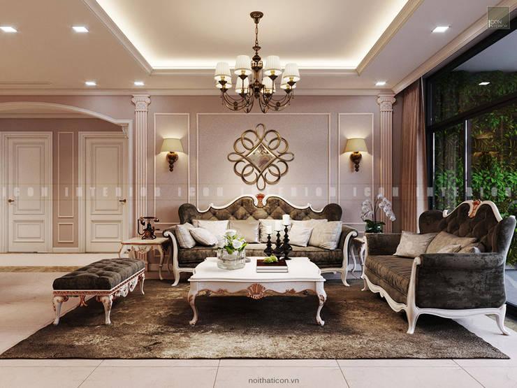 Nội thất căn hộ Vinhomes Central Park – Phong cách Tân Cổ Điển:  Phòng khách by ICON INTERIOR