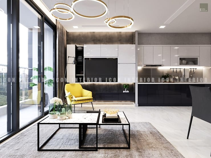 Nội thất căn hộ Vinhomes Golden River – Tòa Aqua:  Phòng khách by ICON INTERIOR