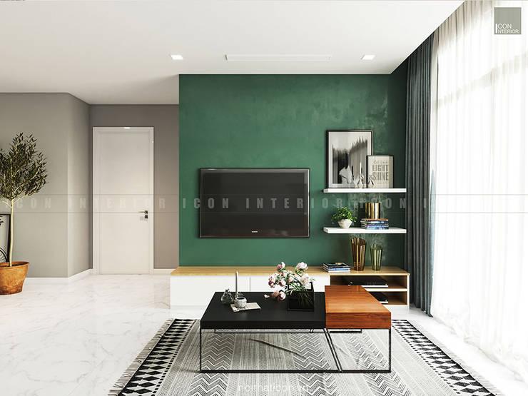 Nội thất căn hộ Vinhomes Ba Son – ICON INTERIOR:  Phòng khách by ICON INTERIOR