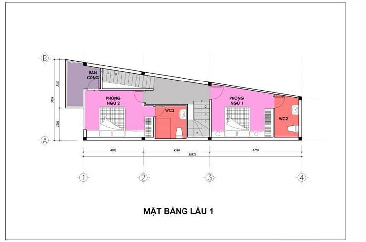 Bản vẽ mặt bằng lầu 1 nhà phố 4 tầng.:  Nhà gia đình by Công ty TNHH Thiết Kế Xây Dựng Song Phát
