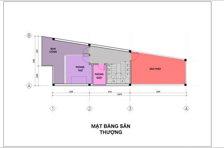 Bản vẽ mặt bằng lầu 3 nhà phố 4 tầng.:  Nhà gia đình by Công ty TNHH Thiết Kế Xây Dựng Song Phát