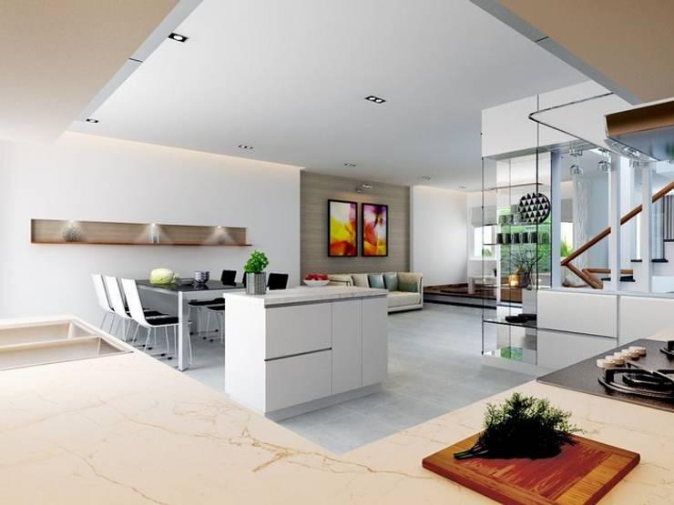 Căn bếp với đầy đủ nội thất sang trọng.:  Phòng ăn by Công ty TNHH Thiết Kế Xây Dựng Song Phát