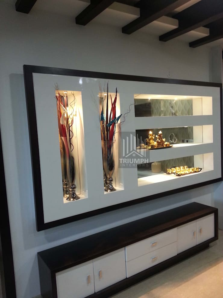 Display in Living Room: modern Living room by TRIUMPH INTERIORS