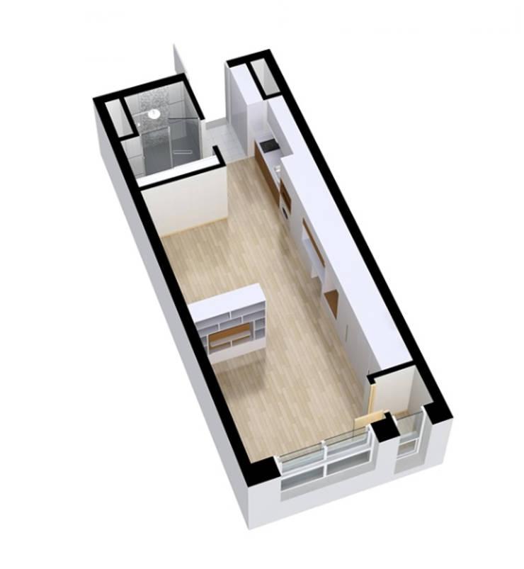 안산 센터하임 오피스텔 모델하우스 / F2-Type: 에이프릴디아의  다이닝 룸,