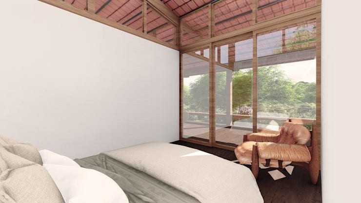 Bedroom by ArqClub - Studio de Arquitetura, Minimalist Wood Wood effect