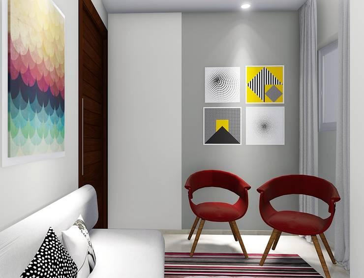 Pequena sala integrada com cozinha: Salas de estar  por Trivisio Consultoria e Projetos em 3D