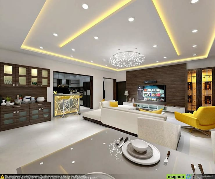Living Room Concept: ​How To Create An Ambience In Your Living Room ?:  Living room by Magnon India : Residential Lifestyle Interior Company