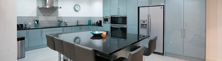 Large Central Kitchen Island Gloss Blue