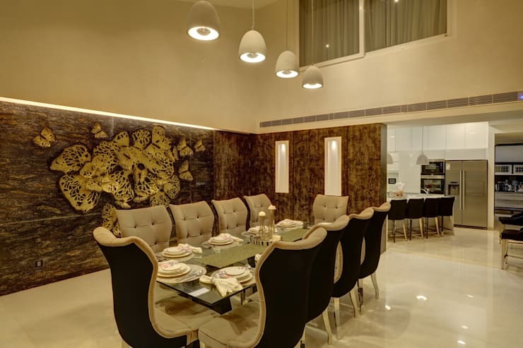 SIRAJ RESIDENCE: modern Dining room by ALEX JACOB ARCHITECT