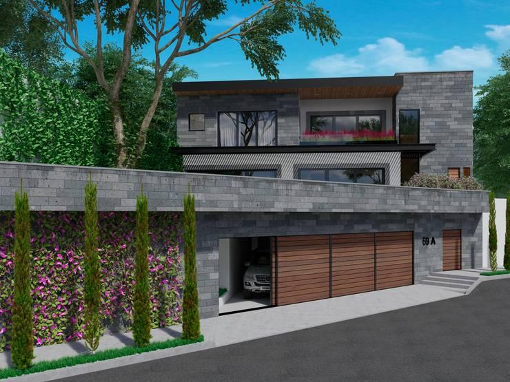 Vista Fachada de Acceso: Casas unifamiliares de estilo  por Fi Arquitectos