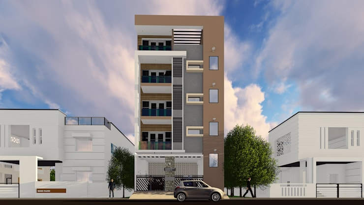 3D Elevation :  Multi-Family house by Cfolios Design And Construction Solutions Pvt Ltd,Modern