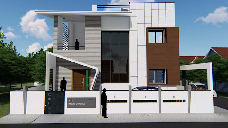 Front Elevation :  Bungalows by Cfolios Design And Construction Solutions Pvt Ltd,Modern