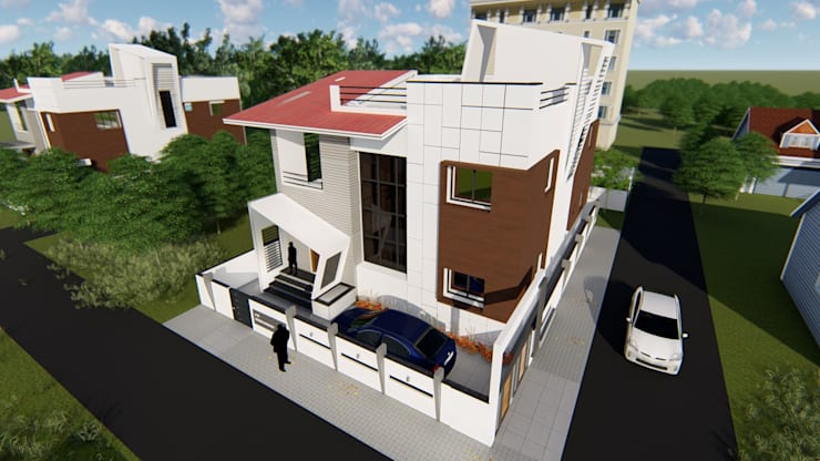 Aerial View:  Bungalows by Cfolios Design And Construction Solutions Pvt Ltd,Modern