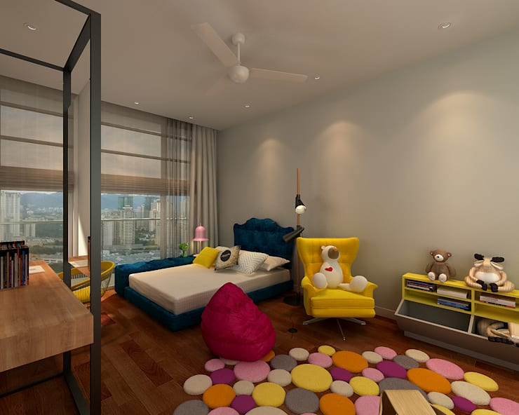 Modern Industrial Condo. 3D:  Bedroom by inDfinity Design (M) SDN BHD