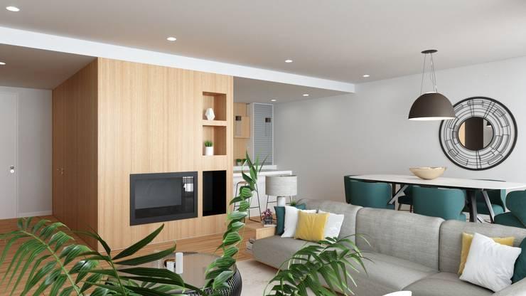 Reabilitação interior : Salas de estar  por Fabio Pereira & João Fraga, Arquitetos