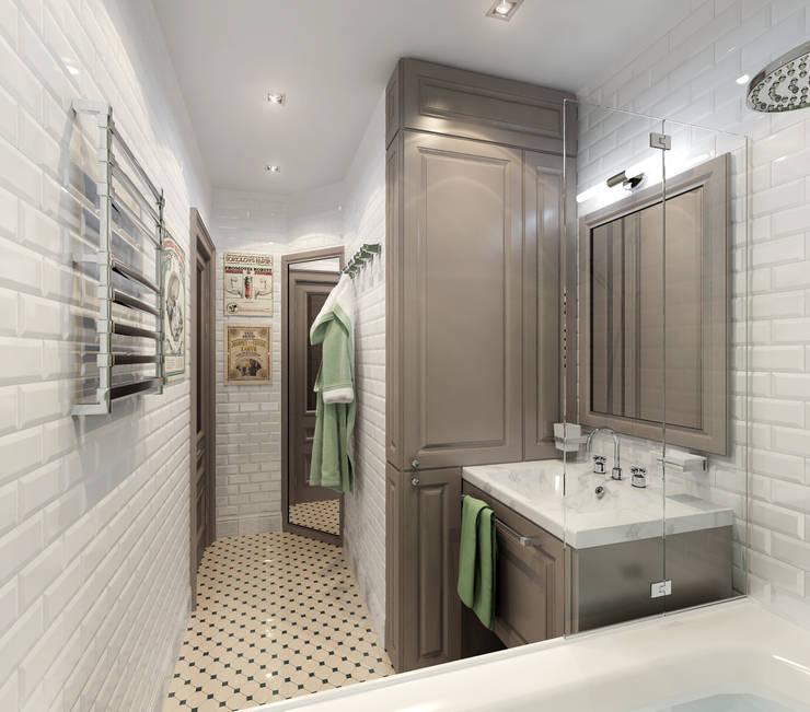 3D-концепт, квартира на Кондратьевском: Ванные комнаты в . Автор – Студия дизайна Дмитрия Артемьева 'Prosto Design'