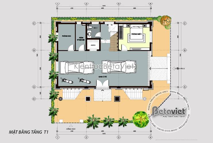 Mặt bằng tầng 1 mẫu thiết kế biệt thự phố 5 tầng Tân cổ điển (CĐT: Ông Cảnh - Bắc Giang) KT17099A:   by Công Ty CP Kiến Trúc và Xây Dựng Betaviet