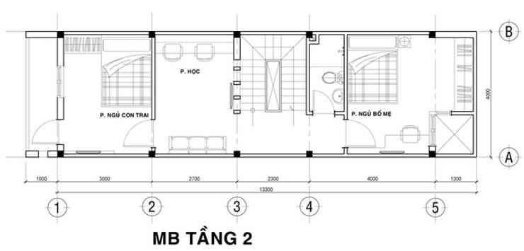 Bản vẽ thiết kế nhà phố 3 tầng:  Nhà gia đình by Công ty TNHH Xây Dựng TM – DV Song Phát