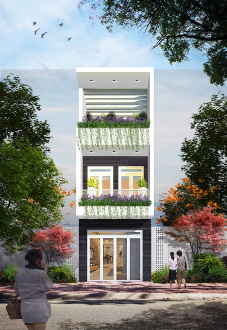 Phối cảnh mặt tiền nhà phố 3 tầng:  Nhà gia đình by Công ty TNHH Xây Dựng TM – DV Song Phát