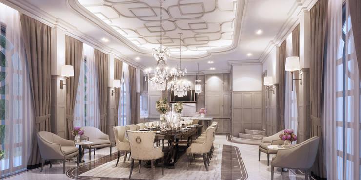 งานออกแบบรีโนเวทบ้าน:  ห้องทานข้าว by Luxxri Design