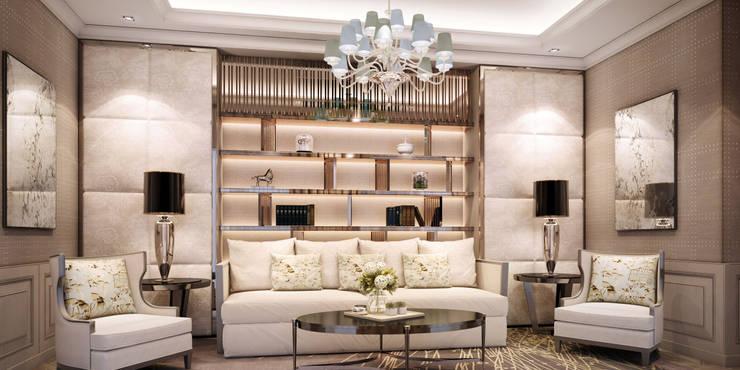 งานออกแบบรีโนเวทบ้าน:  ห้องนั่งเล่น by Luxxri Design