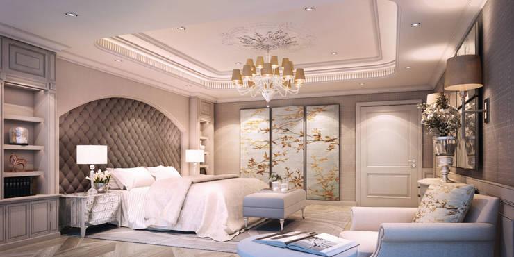 งานออกแบบรีโนเวทบ้าน:  ห้องนอน by Luxxri Design