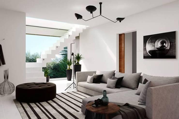 VIVIENDA UNIFAMILIAR FD – VILLA ASCASUBI: Livings de estilo  por PRIGIONI Arquitectura y Diseño