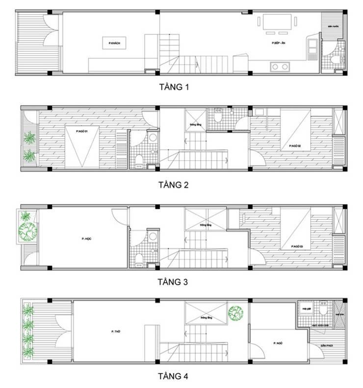 Mẫu Thiết Kế Nhà Ống 40m2 Đầy Đủ Tiện Nghi Cho Gia Đình 3 Thế Hệ:  Nhà gia đình by Công ty TNHH Xây Dựng TM – DV Song Phát