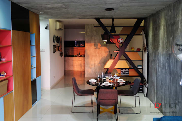 Industrial Contemporary condo:  Dining room by inDfinity Design (M) SDN BHD