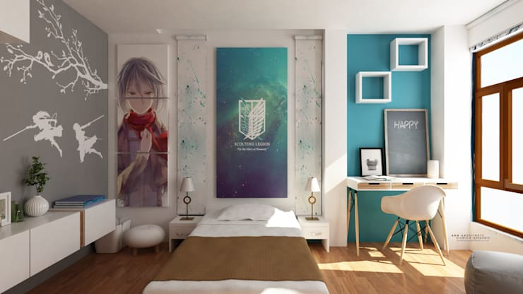 Interior works: Bedroom with an anime design concept:  Bedroom by  ABG Architects and Builders