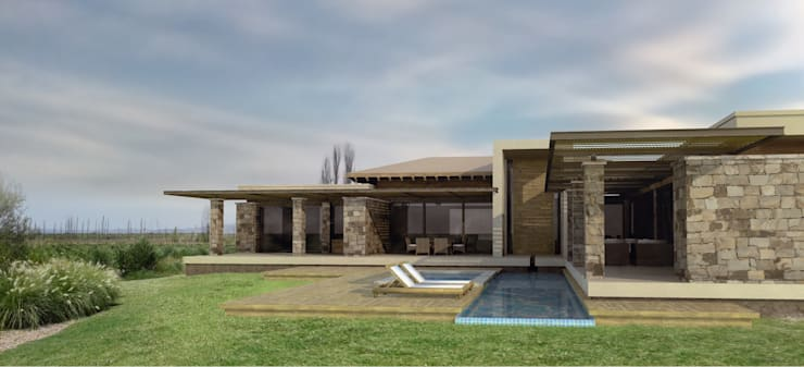 Vivienda en Algodon: Casas de estilo  por Azcona Vega Arquitectos
