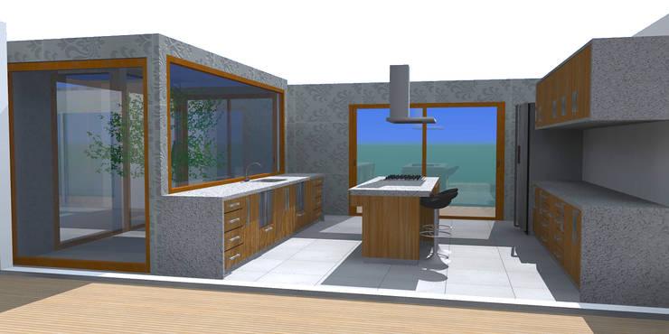CASA CHICUREO : Cocinas de estilo moderno por Incubar: Arquitectura & Construcción