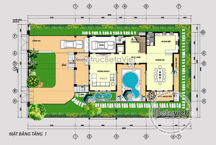Mặt bằng tầng 1 mẫu thiết kế biệt thự hiện đại 3 tầng có bể bơi ( CĐT: Ông Sơn - Hà Nội) KT17109:   by Công Ty CP Kiến Trúc và Xây Dựng Betaviet