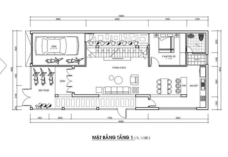 Bản vẽ tầng một nhà phố 2 mặt tiền đẹp.:  Nhà gia đình by Công ty TNHH Thiết Kế Xây Dựng Song Phát