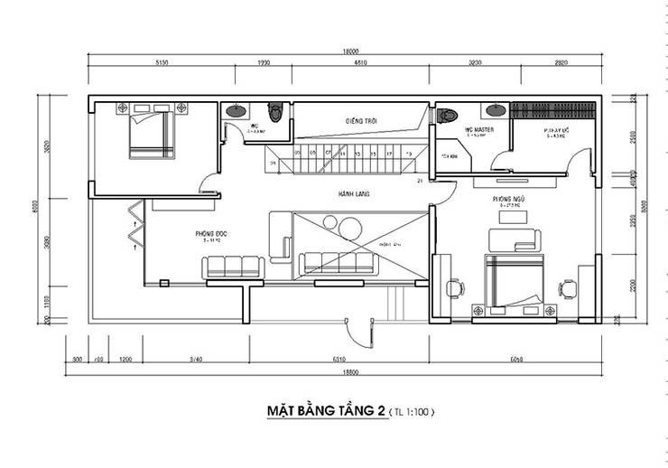 Bản vẽ tầng hai nhà phố 2 mặt tiền đẹp.:  Nhà gia đình by Công ty TNHH Thiết Kế Xây Dựng Song Phát