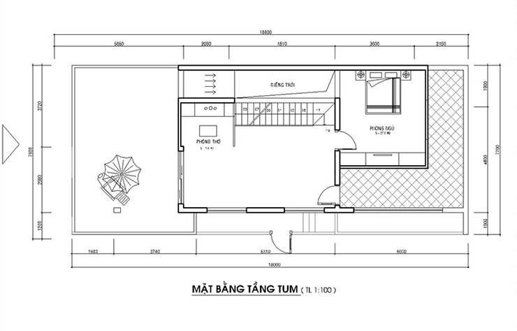 Bản vẽ tầng tum nhà phố 2 mặt tiền đẹp.:  Nhà gia đình by Công ty TNHH Thiết Kế Xây Dựng Song Phát