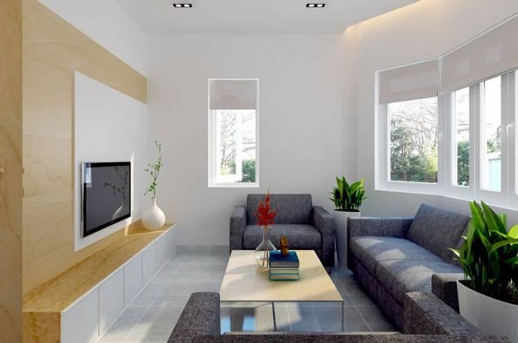 Cửa sổ lớn kết hợp rèm roman trở thành điểm nhấn tinh tế cho ngôi nhà 2 mặt tiền.:  Phòng khách by Công ty TNHH Thiết Kế Xây Dựng Song Phát