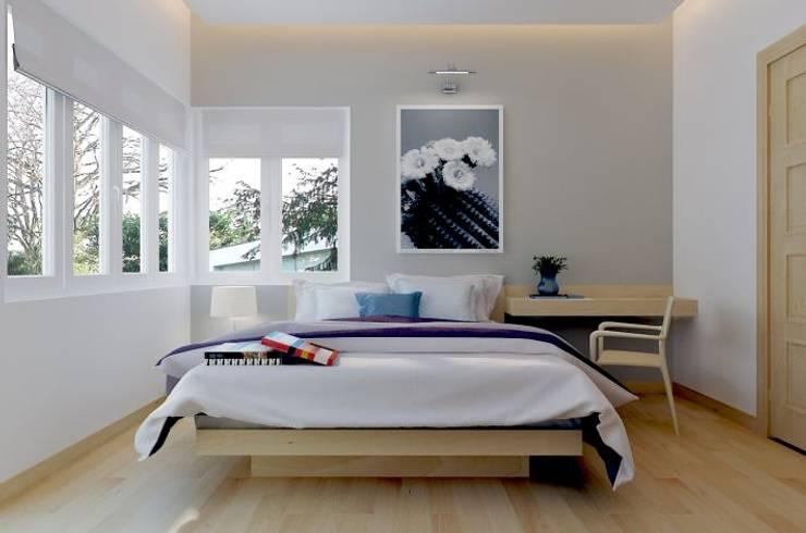 Phòng ngủ dành cho khách của gia đình với đầy đủ tiện nghi.:  Phòng ngủ by Công ty TNHH Thiết Kế Xây Dựng Song Phát