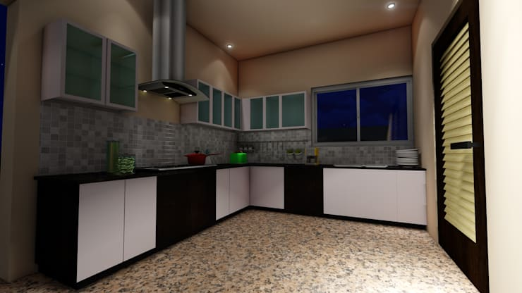 Amruta Patil @ Hubli: minimalistic Kitchen by Cfolios Design And Construction Solutions Pvt Ltd